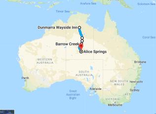 Dunmarra Wayside Inn to Alice Springs NT Australia Google Maps
